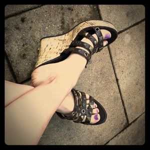 Cork material Aldo leather wedges